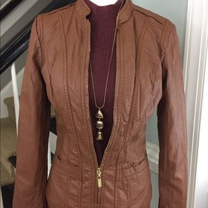 Stunning Brown PU Leather Jacket